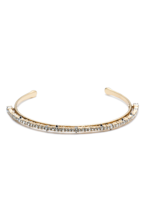 Alexis Bittar Crystal Lace Orbiting Cuff Bracelet In Gold