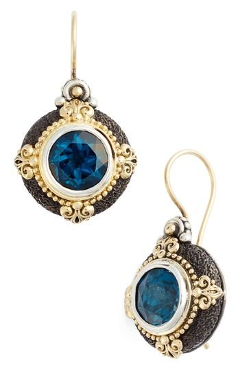 Konstantino Nemesis Drop Earrings In London Blue Topaz
