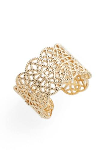 Jules Smith Pave Lace Cuff Ring In Yellow Gold