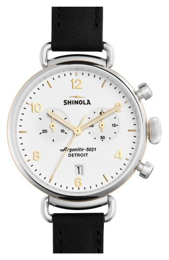 Shinola 'The Canfield Chrono' Leather Strap Watch, 38Mm In Black/ White