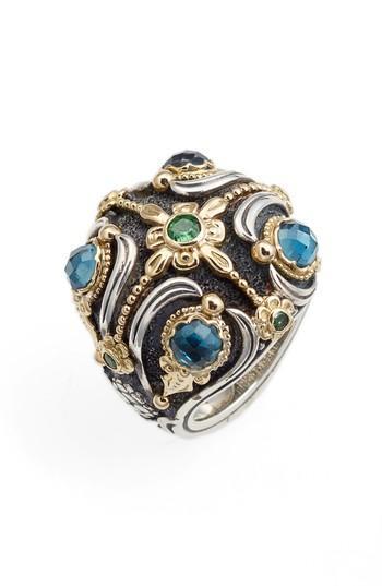 Konstantino Nemesis Statement Ring In London Blue Topaz/ Tsavorite