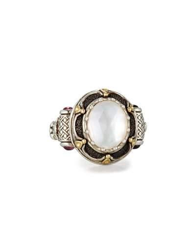 Konstantino Faceted Mother-Of-Pearl Ring With Pink Sapphire In Pearl/ Pink Tourmaline
