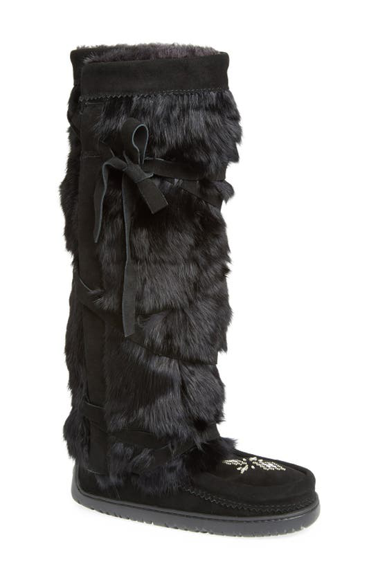 Manitobah Mukluks Genuine Rabbit Fur Tall Wrap Boot In Charcoal