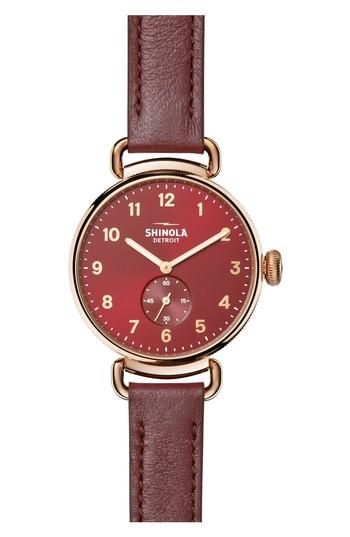 Shinola The Canfield Alligator Strap Watch, 38Mm In Red/ Rose Gold