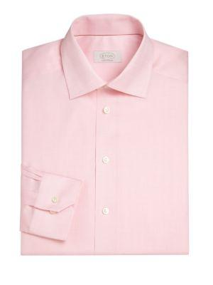 Eton Contemporary-fit Herringbone Dress Shirt In Pink Red