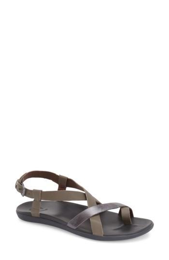 06fb704ad46 Olukai  Upena  Flat Sandal In Grey Leather