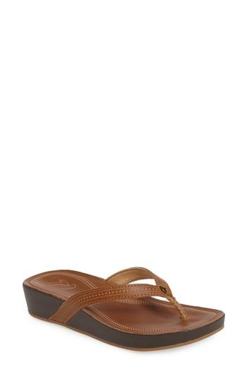 Olukai Ola Flip Flop In Tan Leather
