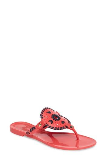 de4a3cd1772 Jack Rogers Sparkle Georgica Jelly Thong Sandals In Bright Pink  Midnight  Jelly