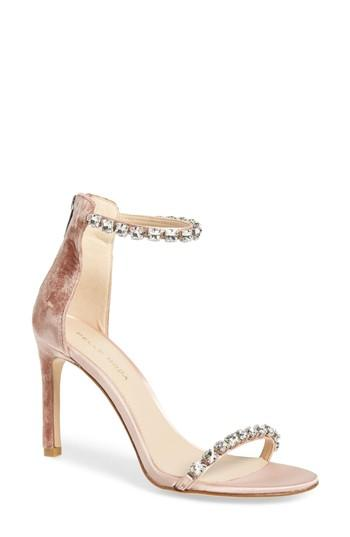 013c96c2c69 Pelle Moda Frisk Jeweled Velvet Satin High-Heel Dressy Sandals In Blush