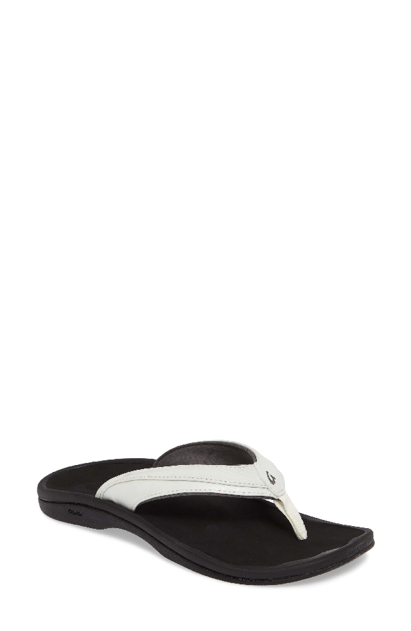 Olukai Ohana Sandal In White/ Java Faux Leather