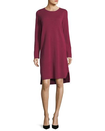 1a9a395f158 Eileen Fisher Fine Merino Interlock Knee-Length Dress In Hibiscus ...
