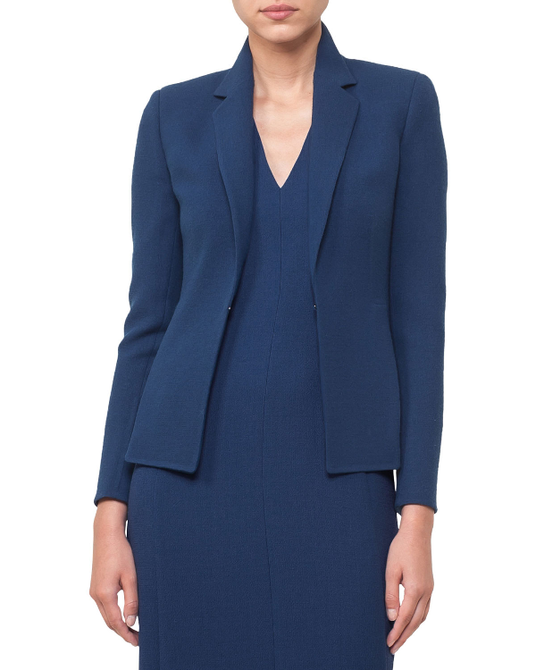 Akris Hook-Front Wool-Crepe Tailored Blazer In Dark Blue