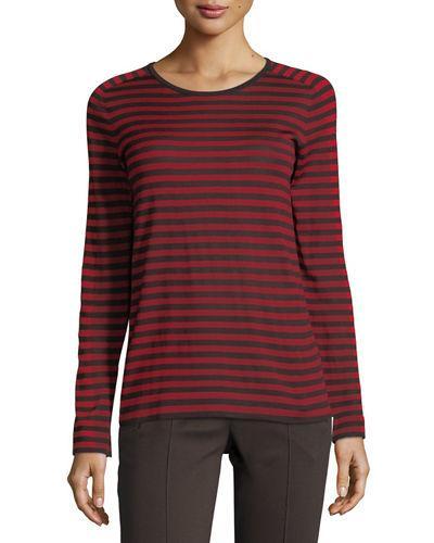 In Ruby Top Striped Pullover Chili Akris Colorblock Punto Wine F3KJTl1c