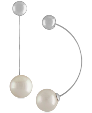 Majorica 12Mm White Organic Pearl Drop Earrings In Silver