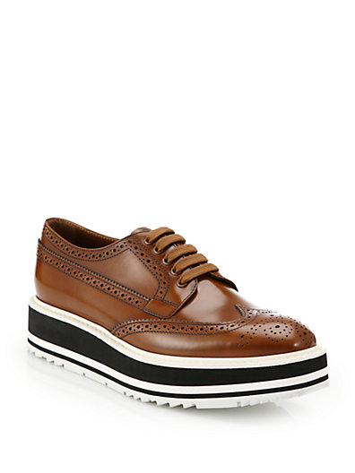 Prada Platform Leather Wingtip Brogues In Tabacco