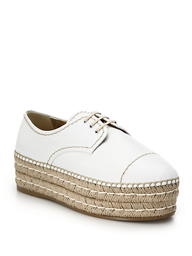 Prada Espadrille Platform Leather Lace-Up Shoes In White