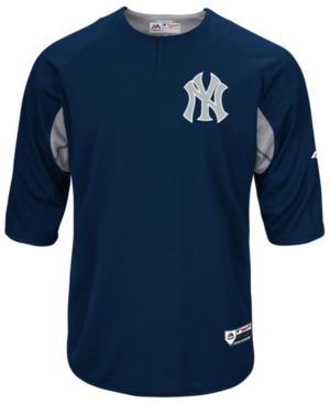Majestic Men's New York Yankees On-Field Bp Trainer Jersey In Navy/Navy/Gray