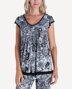 Ellen Tracy Yours To Love Short Sleeve Top In Black