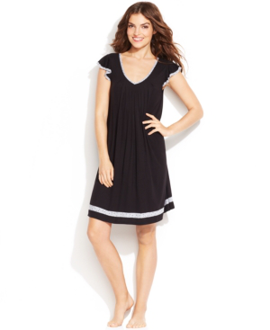 Ellen Tracy Plus Size Yours To Love Short Sleeves Nightgown In Black