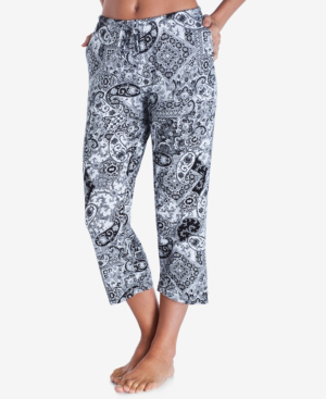 Ellen Tracy Yours To Love Capri Pajama Pants In White Grid
