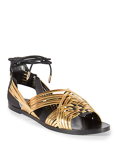 Balmain Woman Matti Woven Leather And Suede Sandals Gold