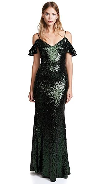 Theia Scarlet Sequin Gown In Hunter