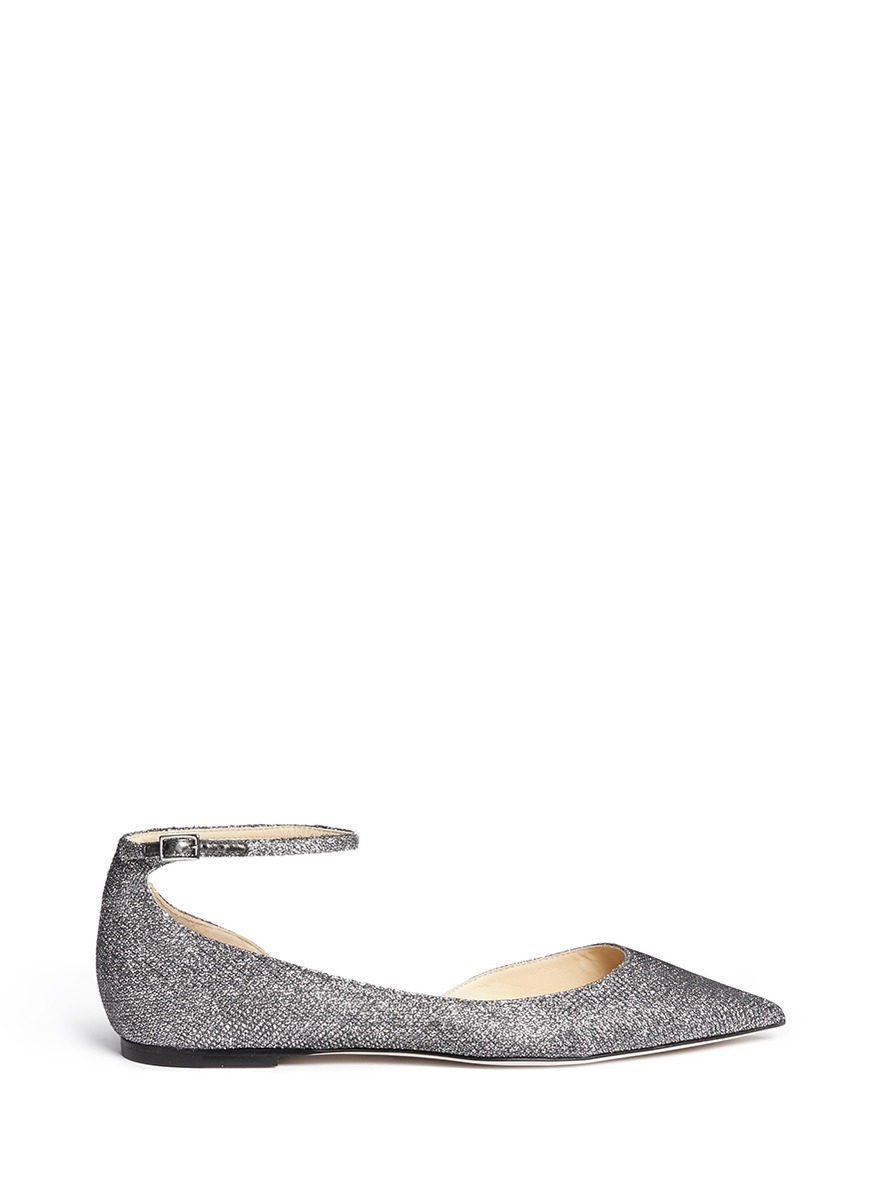 571734e11452 Jimmy Choo Lucy Lame Glitter Ankle-Strap Flats In Silver
