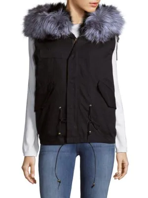 La Fiorentina Hooded Fox Fur Trimmed Cotton Vest In Black
