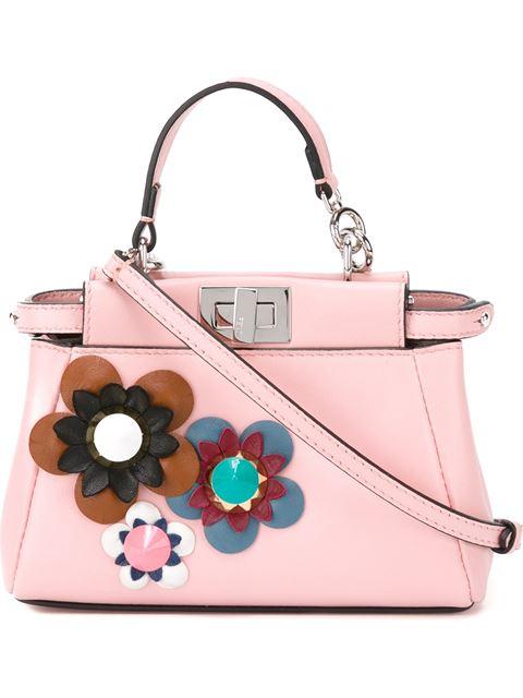 8989ef71d1c Fendi Peekaboo Micro Flower-Embellished Leather Satchel In Bubblegum ...