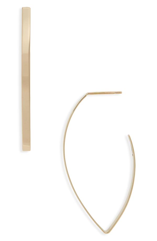 Lana Blake Marquise Hoop Earrings In Yellow Gold