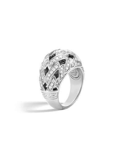 John Hardy Classic Chain Sterling Silver Diamond Pave Dome Ring In White/Silver