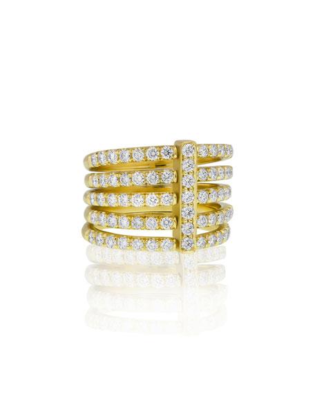 Carelle Moderne 18K Five-Row Diamond Ring