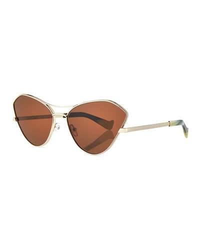 Grey Ant Fluxus Cat-Eye Monochromatic Sunglasses In Gold
