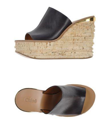 ChloÉ Leather Platform Sandal Slide, Black