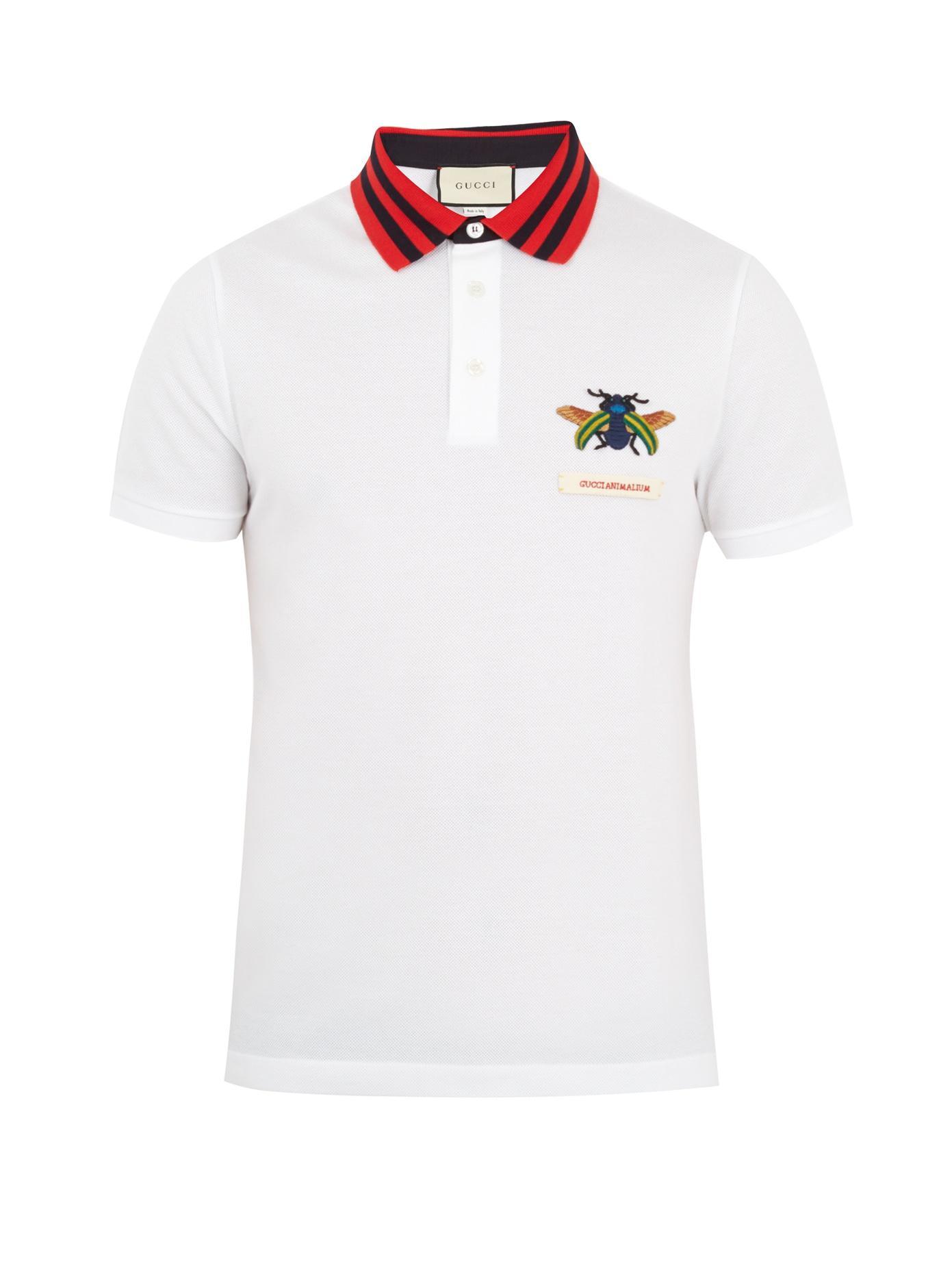 5955a1a2887 Gucci - Beetle Appliqué Cotton Piqué Polo Shirt - Mens - White Multi ...