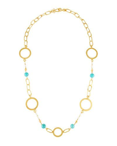 Stephanie Kantis Love Long Beaded Chain Necklace In Turquoise
