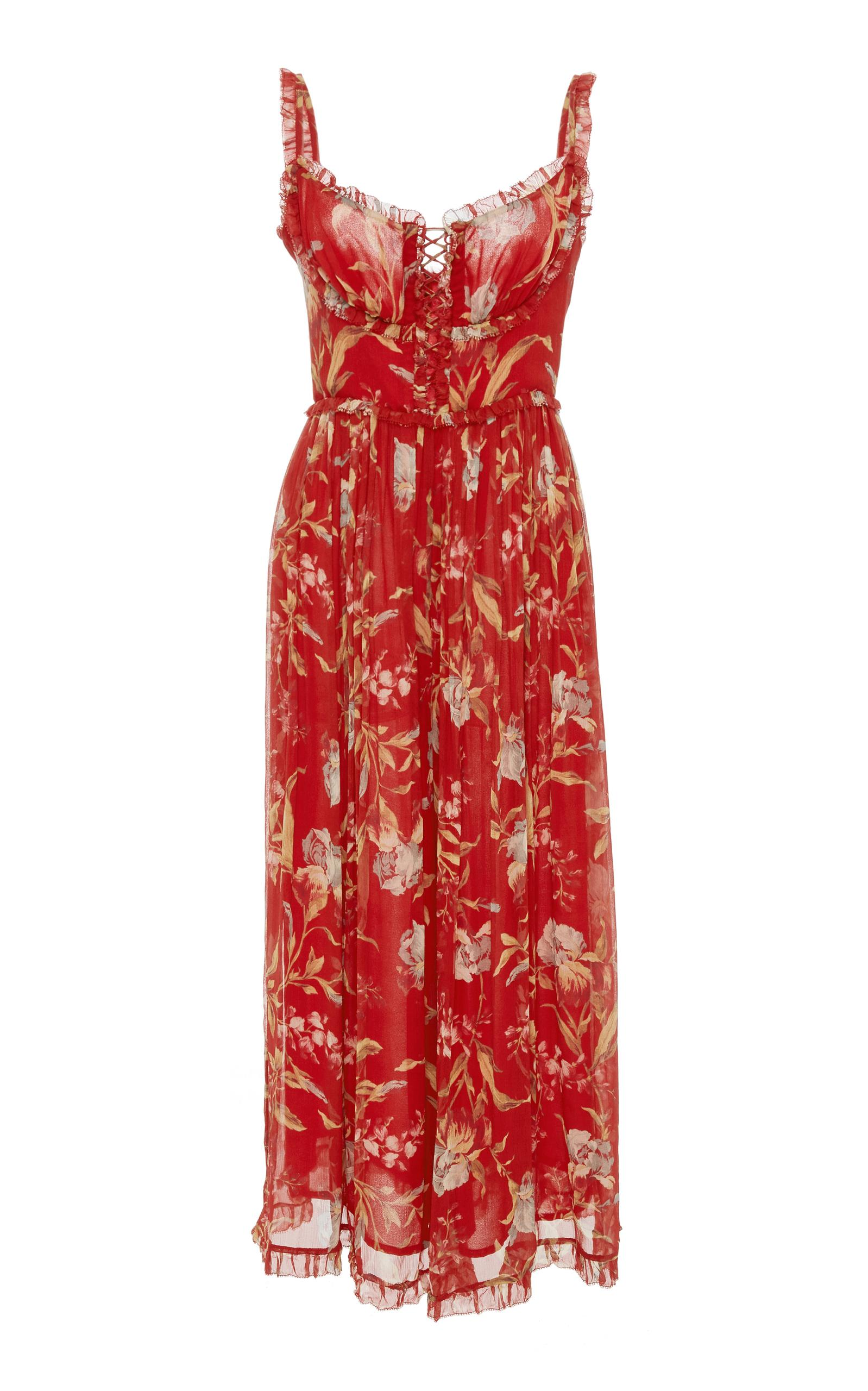 16c96330e445 Zimmermann Corsair Iris Floral-Print Silk-Georgette Jumpsuit In Red ...