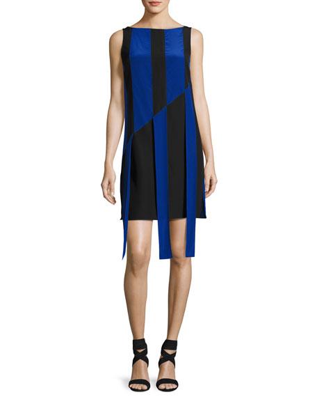 Akris Sleeveless Front-Sash A-Line Dress, Black/Azul In Negro Azul