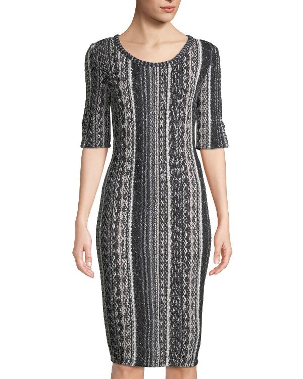 St. John Vertical Striped Tweed Sheath Dress In Black Pattern