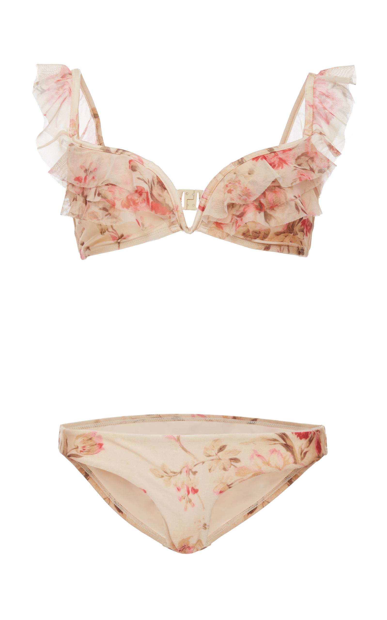 4eb4d2df78308 Zimmermann Corsair Off-The-Shoulder Ruffle Bikini Swim Set In Floral ...