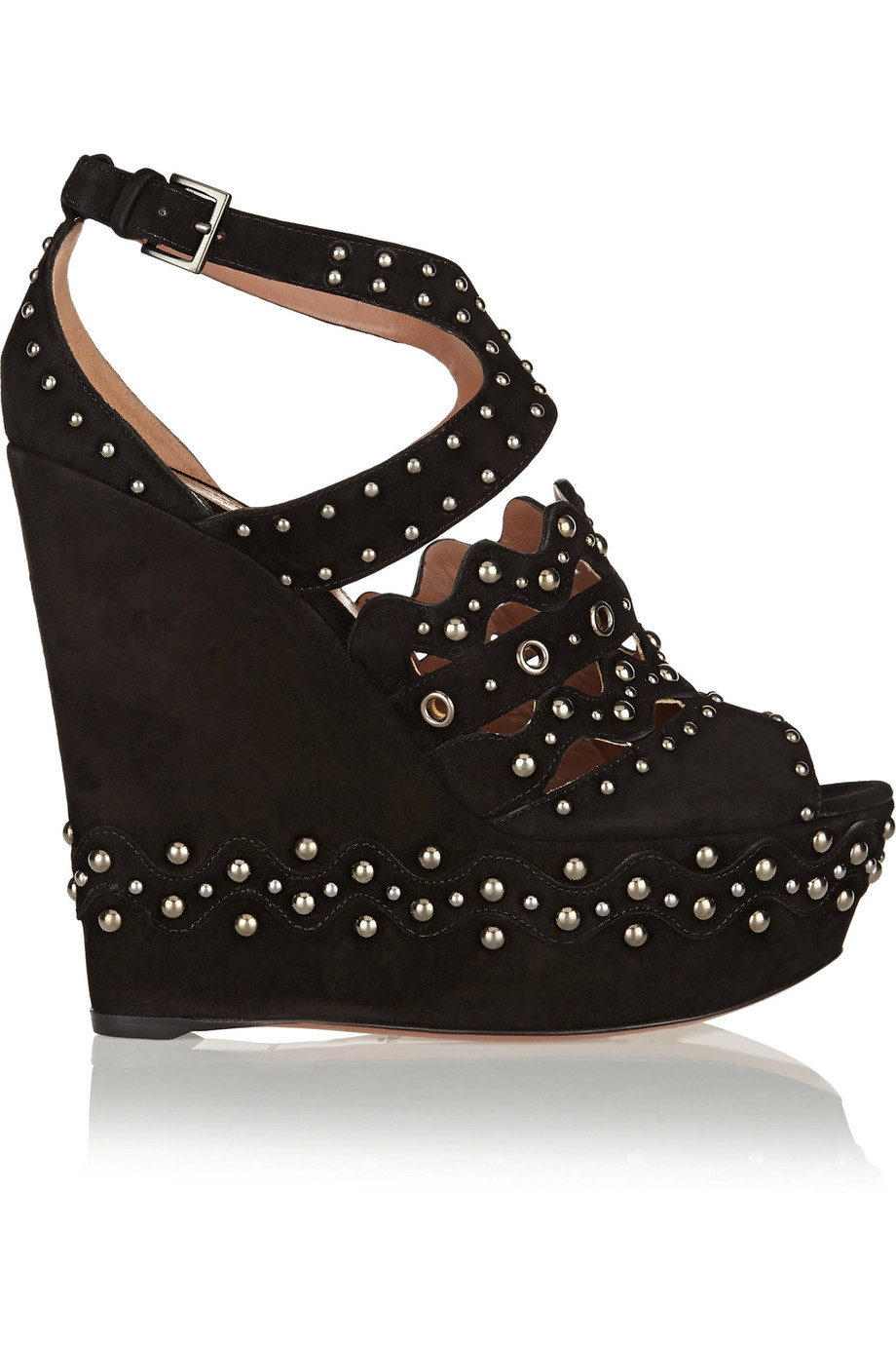 3206200fed0 AlaÏA Studded Suede Wedge Sandals