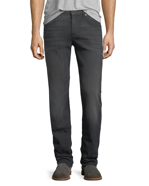 7 For All Mankind Men's Straight-Leg Airweft Denim Jeans, Soiree Black In Hlgy Halide Grey