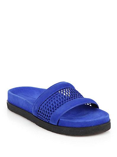 Alexander Wang Jac Airtex Suede And Mesh Slide Sandals