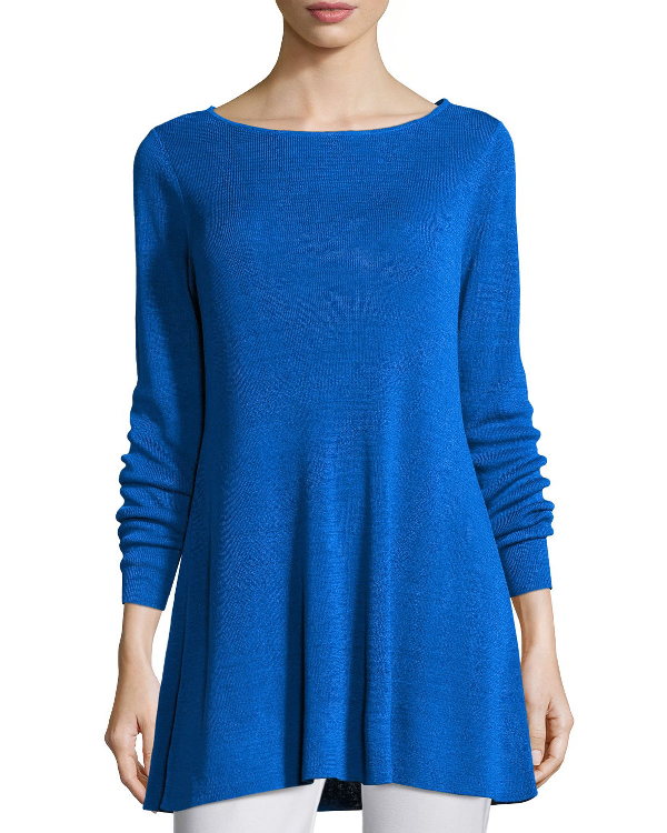 Eileen Fisher Fine Organic Linen Crepe Knit In Catalina