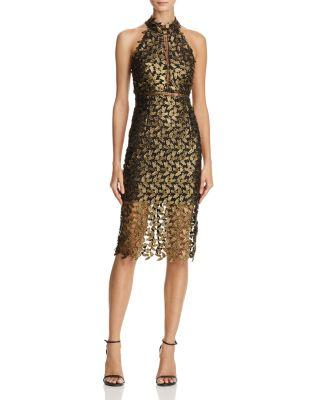 Mock Neck Lace Illusion Dress In Gold Leaf