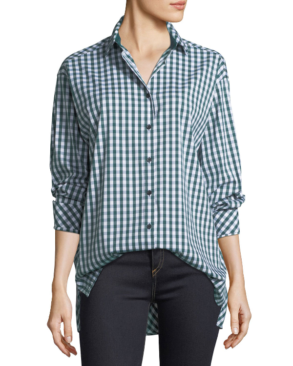 332953bfff0ba0 Lafayette 148 Brody Long-Sleeve Hampton Check Blouse In Harvest Multi