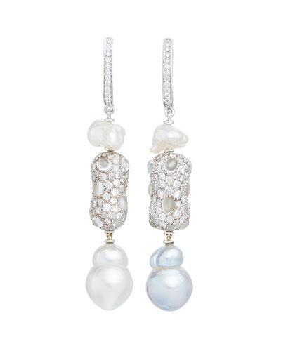 73682fd85 Margot Mckinney Jewelry Linear Diamond & Baroque Pearl Drop Earrings In 18K  White Gold