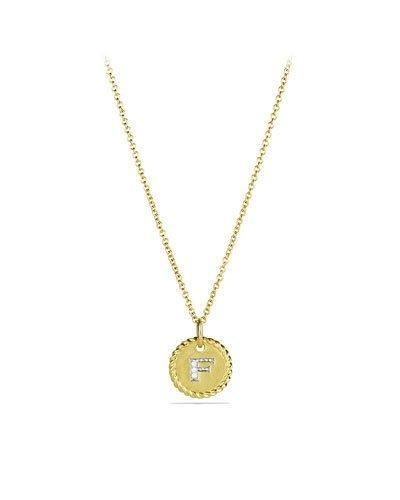 "David Yurman F"" Pendant With Diamonds In Gold On Chain"""