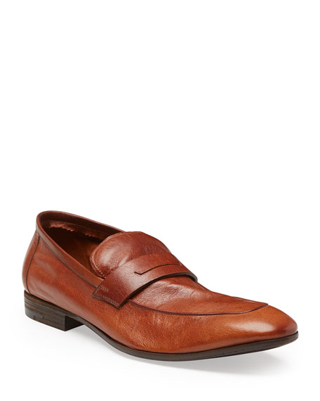 Berluti Lorenzo Unlined Leather Loafer, Brown In Cuoio