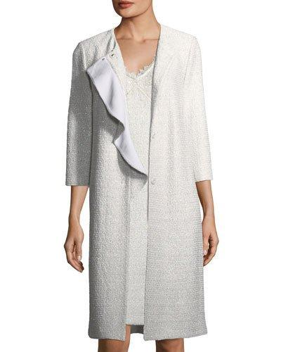 St. John Soft Metallic Knit Long-Line Topper Jacket In Silver
